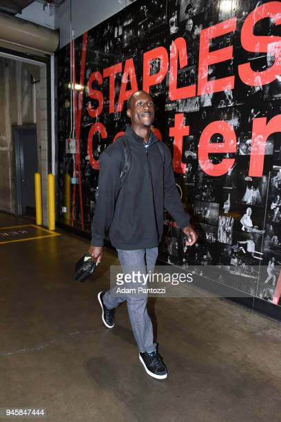 Andre Ingram of the Los Angeles Lakers arrives at the before the game against the LA Clippers on April 11 2018 at STAPLES Center in Los Angeles...