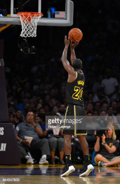 Andre Ingram of the Los Angeles Lakers attempts a free throw during the game against the Houston Rockets on April 10 2018 at STAPLES Center in Los...