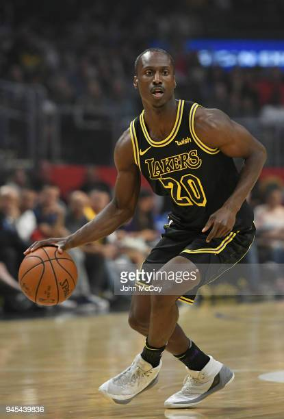 Andre Ingram of the Los Angeles Lakers brings the ball up court in the first hafl at Staples Center on April 11 2018 in Los Angeles California NOTE...