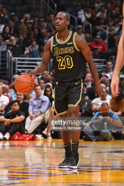 Andre Ingram of the Los Angeles Lakers dribbles during the game against the Houston Rockets on April 10 2017 at STAPLES Center in Los Angeles...