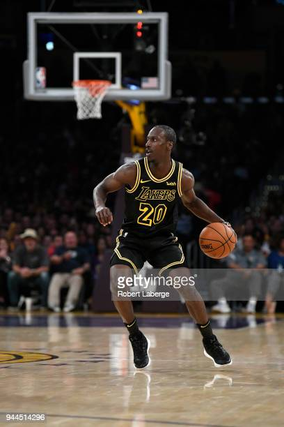 Andre Ingram of the Los Angeles Lakers dribbles the balll during the game against the Houston Rockets on April 10 2018 at STAPLES Center in Los...