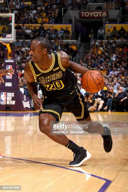 Andre Ingram of the Los Angeles Lakers drives to the basket against the Houston Rockets on April 10 2017 at STAPLES Center in Los Angeles California...