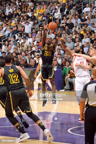 Andre Ingram of the Los Angeles Lakers grabs the rebound against the Houston Rockets on April 10 2017 at STAPLES Center in Los Angeles California...