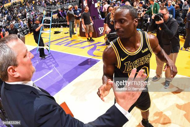 Andre Ingram of the Los Angeles Lakers greets the media after the game against the Houston Rockets on April 10 2017 at STAPLES Center in Los Angeles...