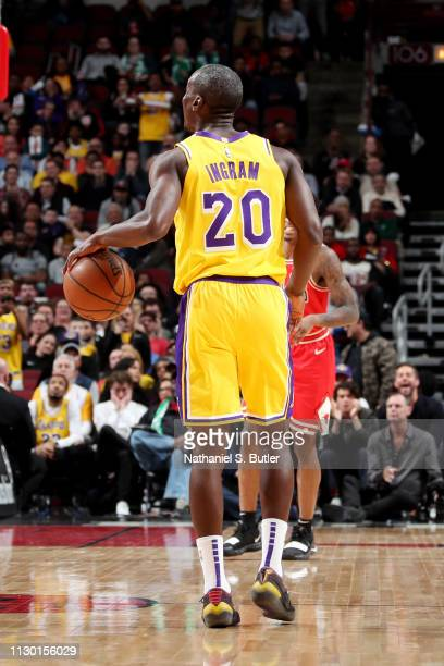 Andre Ingram of the Los Angeles Lakers handles the ball against the Chicago Bulls on March 12 2019 at the United Center in Chicago Illinois NOTE TO...