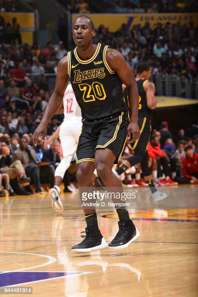 Andre Ingram of the Los Angeles Lakers handles the ball against the Houston Rockets on April 10 2017 at STAPLES Center in Los Angeles California NOTE...