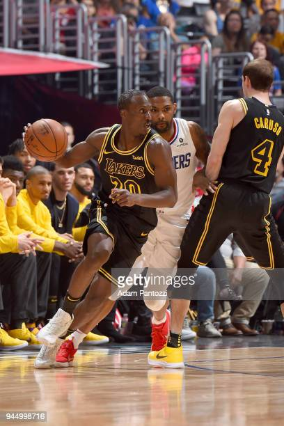 Andre Ingram of the Los Angeles Lakers handles the ball against the LA Clippers on April 11 2018 at STAPLES Center in Los Angeles California NOTE TO...