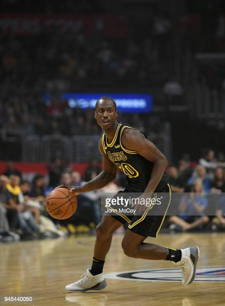 Andre Ingram of the Los Angeles Lakers looks for an open man in the first half at Staples Center on April 11 2018 in Los Angeles California NOTE TO...