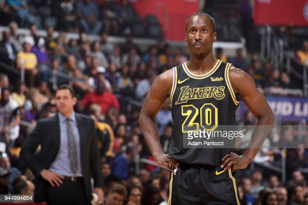 Andre Ingram of the Los Angeles Lakers looks on during the game against the LA Clippers on April 11 2018 at STAPLES Center in Los Angeles California...