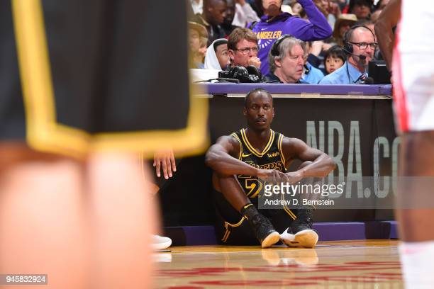 Andre Ingram of the Los Angeles Lakers looks on from the floor during the game against the Houston Rockets on April 10 2017 at STAPLES Center in Los...