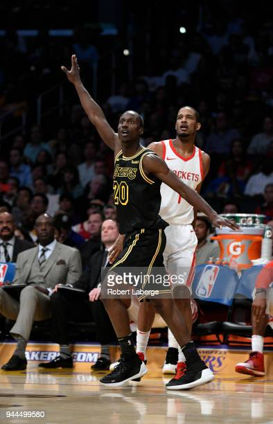 Andre Ingram of the Los Angeles Lakers plays against Trevor Ariza of the Houston Rockets on April 10 2018 at STAPLES Center in Los Angeles California...