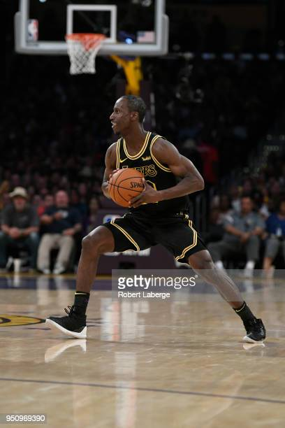 Andre Ingram of the Los Angeles Lakers plays during the game against the Houston Rockets on April 10 2018 at STAPLES Center in Los Angeles California...