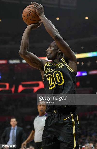 Andre Ingram of the Los Angeles Lakers shoots a 3 pointer in the first half at Staples Center on April 11 2018 in Los Angeles California NOTE TO USER...