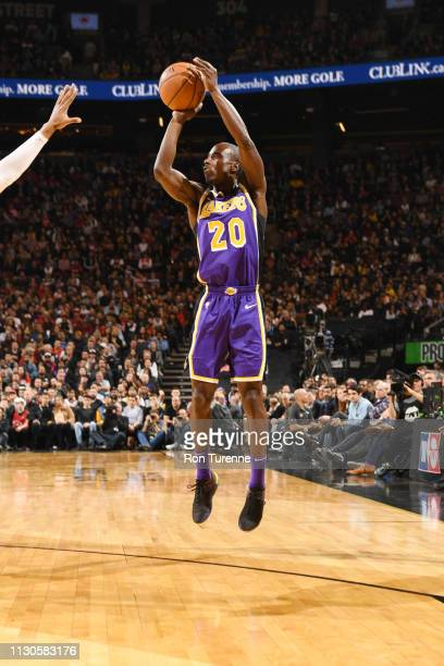 Andre Ingram of the Los Angeles Lakers shoots the ball against the Toronto Raptors on March 14 2019 at the Scotiabank Arena in Toronto Ontario Canada...