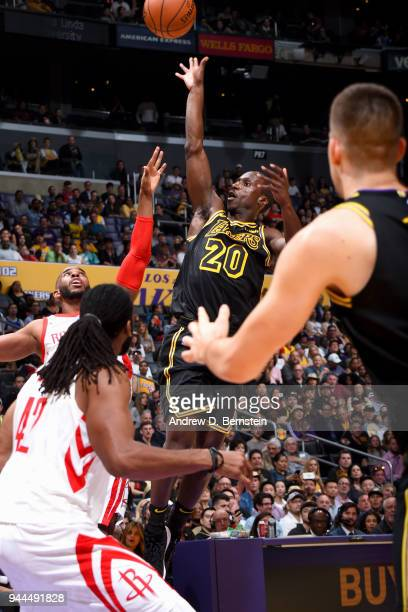 Andre Ingram of the Los Angeles Lakers shoots the ball against the Houston Rockets on April 10 2017 at STAPLES Center in Los Angeles California NOTE...