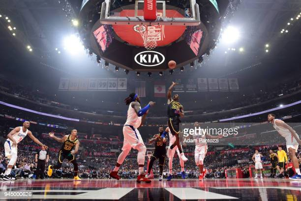 Andre Ingram of the Los Angeles Lakers shoots the ball against the LA Clippers on April 11 2018 at STAPLES Center in Los Angeles California NOTE TO...