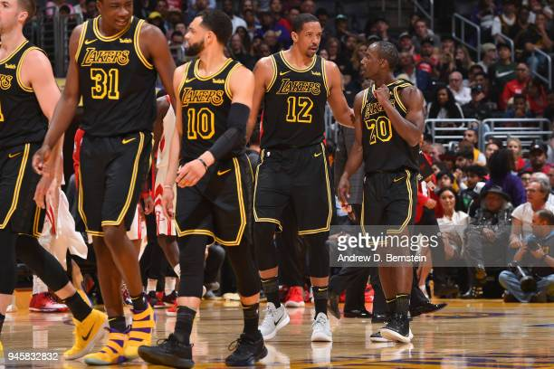 Andre Ingram of the Los Angeles Lakers speaks to Channing Frye of the Los Angeles Lakers during the game against the Houston Rockets on April 10 2017...