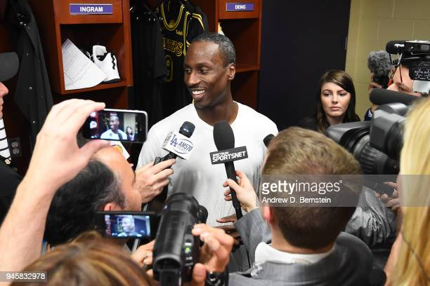Andre Ingram of the Los Angeles Lakers speaks to the media after the game against the Houston Rockets on April 10 2017 at STAPLES Center in Los...