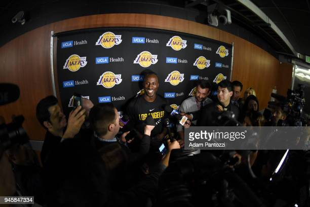 Andre Ingram of the Los Angeles Lakers speaks to the media before his first game with the Los Angeles Lakers against the LA Clippers on April 11 2018...