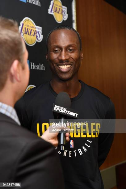 Andre Ingram of the Los Angeles Lakers speaks with the media before his first game with the Log Angeles Lakers playing against the LA Clippers on...