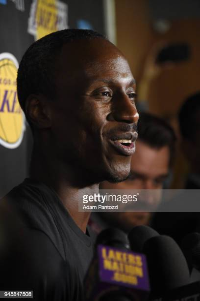 Andre Ingram of the Los Angeles Lakers speaks with the media before his first game with the Los Angeles Lakers against the LA Clippers on April 11...
