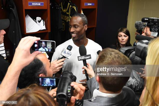 Andre Ingram of the Los Angeles Lakers talks to the media after the game against the Houston Rockets on April 10 2017 at STAPLES Center in Los...