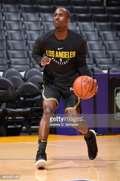Andre Ingram of the Los Angeles Lakers warms up before the game against the Houston Rockets on April 10 2017 at STAPLES Center in Los Angeles...