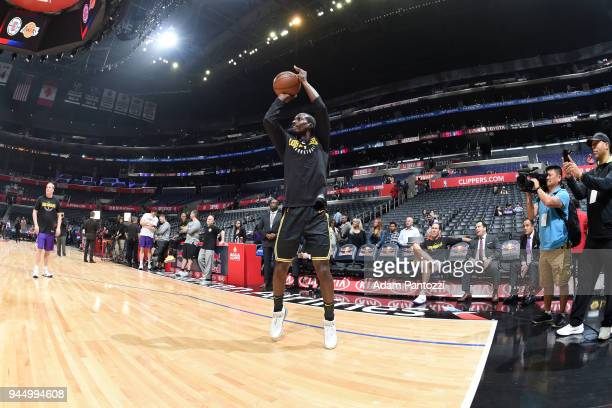 Andre Ingram of the Los Angeles Lakers warms up before the game against the LA Clippers warms up on April 11 2018 at STAPLES Center in Los Angeles...