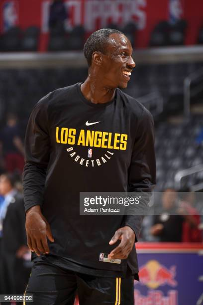 Andre Ingram of the Los Angeles Lakers warms up before the game against the LA Clippers on April 11 2018 at STAPLES Center in Los Angeles California...