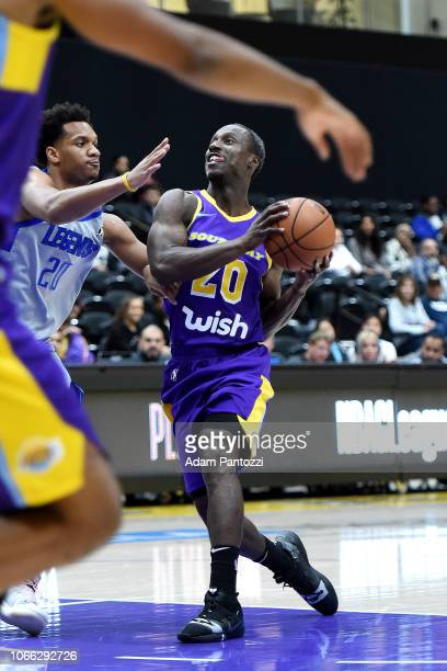 Andre Ingram of the South Bay Lakers drives the basketball against the Texas Legends on November 28 2018 at UCLA Heath Training Center in El Segundo...