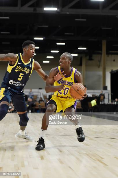Andre Ingram of the South Bay Lakers drives to the basket against the Fort Wayne Mad Ants during the NBA G League Winter Showcase at Mandalay Bay...
