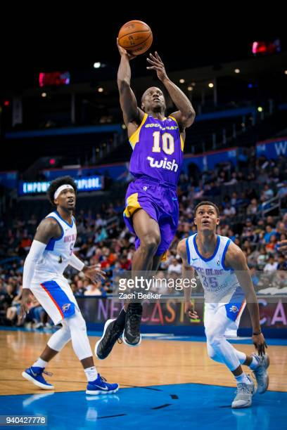 Andre Ingram of the South Bay Lakers goes to the basket against the Oklahoma City Blue during Round One of the NBA GLeague playoffs on March 31 2018...