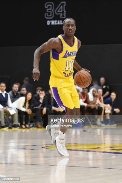 Andre Ingram of the South Bay Lakers handles the ball against the Agua Caliente Clippers during an NBA GLeague game on March 15 2018 at UCLA Heath...