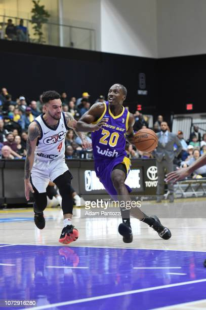 Andre Ingram of the South Bay Lakers handles the basketball against the Capital City GoGo on December 13 2018 at UCLA Heath Training Center in El...