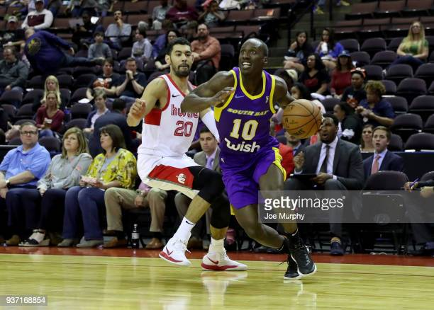 Andre Ingram of the South Bay Lakers passes the ball during the game against the Memphis Hustle during a NBA GLeague game on March 23 2018 at Landers...