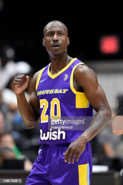 Andre Ingram of the South Bay Lakers reacts during a game against the Lakeland Magic on January 28 2019 at UCLA Heath Training Center in El Segundo...