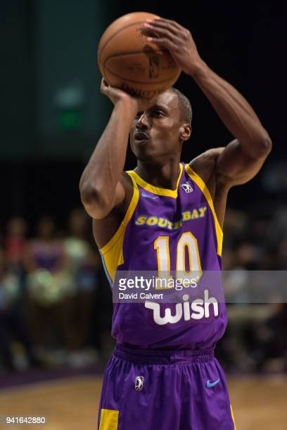 Andre Ingram of the South Bay Lakers shoots a free throw against the Reno Bighorns during an NBA GLeague game on April 3 2018 at the Reno Events...