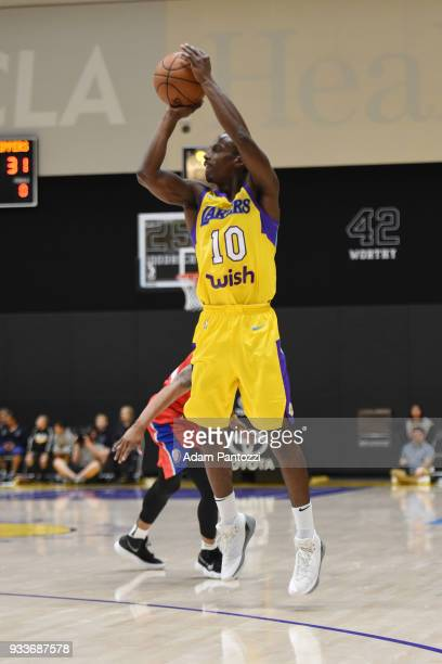 Andre Ingram of the South Bay Lakers shoots the ball against the Agua Caliente Clippers during an NBA GLeague game on March 15 2018 at UCLA Heath...