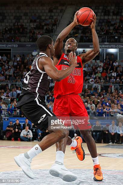 Andre Ingram of the Wildcats drives to the basket during the round three NBL match between Melbourne United and the Perth Wildcats at Hisense Arena...