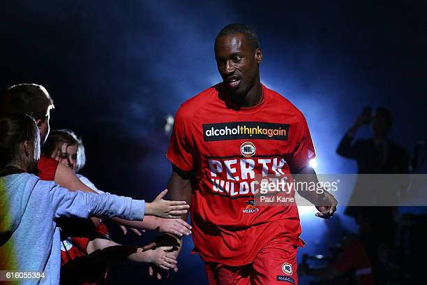 Andre Ingram of the Wildcats runs onto the court during the round three NBL match between the Perth Wildcats and the Illawarra Hawks at Perth Arena...