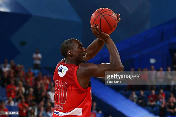 Andre Ingram of the Wildcats shoots a three pointer during the round three NBL match between the Perth Wildcats and the Illawarra Hawks at Perth...