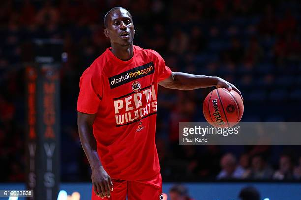 Andre Ingram of the Wildcats warms up before during the round three NBL match between the Perth Wildcats and the Illawarra Hawks at Perth Arena on...