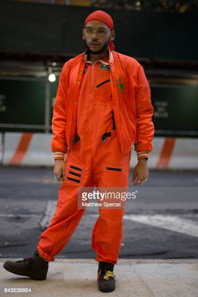 Andre Jarrid is seen attending VFILES during New York Fashion Week wearing a vintage orange outfit on September 6 2017 in New York City