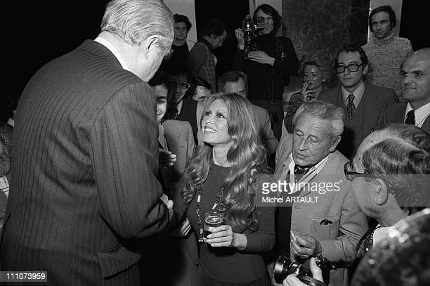 Andre Jarrot Brigitte Bardot PaulEmile Victor on Antenna 2 in Paris France on February 18th 1975
