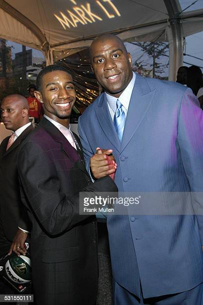 Andre Johnson and Earvin Magic Johnson during Lincoln Luxury Event with Earvin Magic Johnson and New Edition at Compound in Atlanta Georgia United...