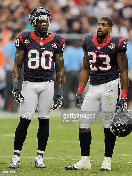 Andre Johnson of the Houston Texans and Arian Foster of the Houston Texans stand on the field during a time out against the Tennessee Titans at...