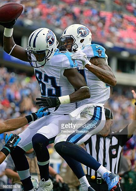 Andre Johnson of the Tennessee Titans congratulates teammate Harry Douglas on scoring a touchdown against the Carolina Panthers during the first half...