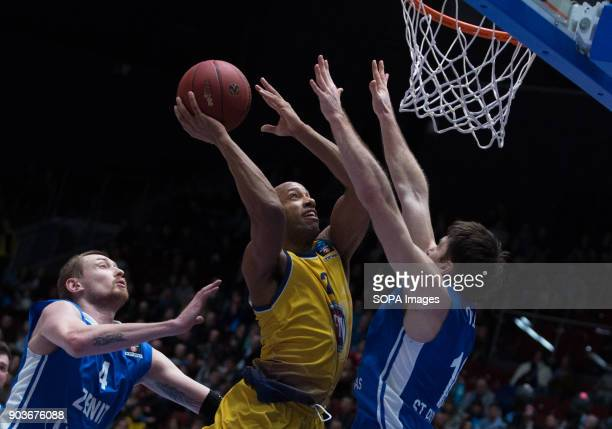 Andre Jones of Fiat Turin and Ivan Lazarev Evgeny Voronov of Zenit St Petersburg vie for the ball during the EuroCup Round 2 Top 16 basketball match...