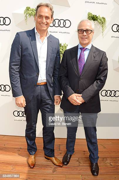 Andre Konsbruck Director of Audi UK and Jon Zammett Head of PR for Audi UK attend day one of the Audi Polo Challenge at Coworth Park on May 28 2016...