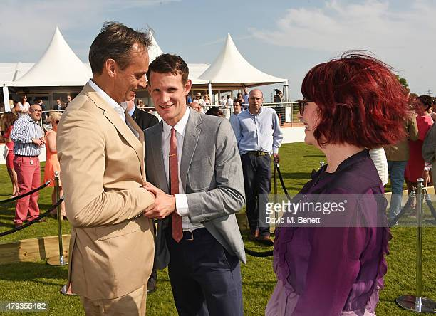 Andre Konsbruck Director of Audi UK Matt Smith and Megan Mullally attend the Audi Polo Challenge 2015 at Cambridge County Polo Club on July 3 2015 in...